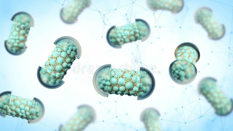 Kleurrijke abstracte chaotische structuurballen binnen de capsule, apotheek en het medische die concept op witte achtergrond word stock foto's