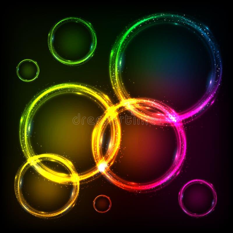 Kleurrijke abstracte de kadersachtergrond van neoncirkels stock illustratie