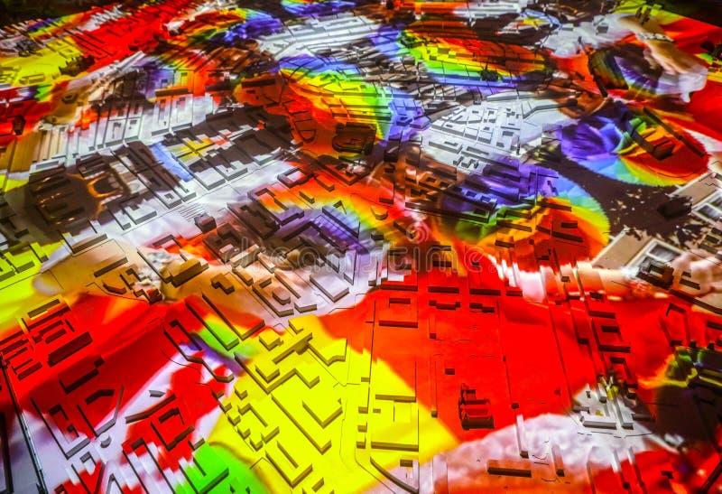 Kleurrijke abstracte de stadskaart van Amsterdam in perspectief royalty-vrije illustratie