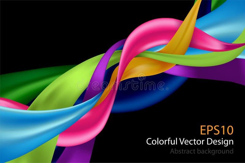 Kleurrijke abstracte die ontwerpachtergrond op zwarte wordt geïsoleerd Vector IL royalty-vrije illustratie