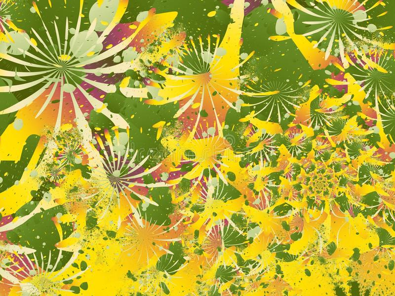 Kleurrijke abstracte fractal met splotches die op chrysanten of andere bloemen lijken schikte in een spiraal stock illustratie