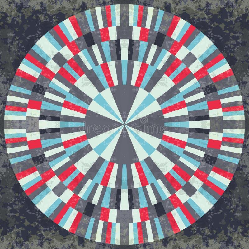 Kleurrijke abstracte geometrische voorwerpen op een zwart grunge effect als achtergrond stock illustratie