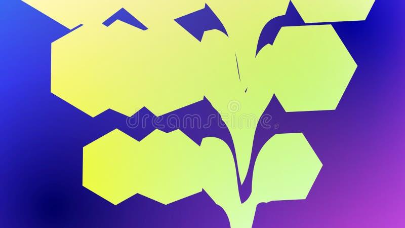 Kleurrijke abstracte glitch halftone met hexagon, geometrische vormen stock illustratie