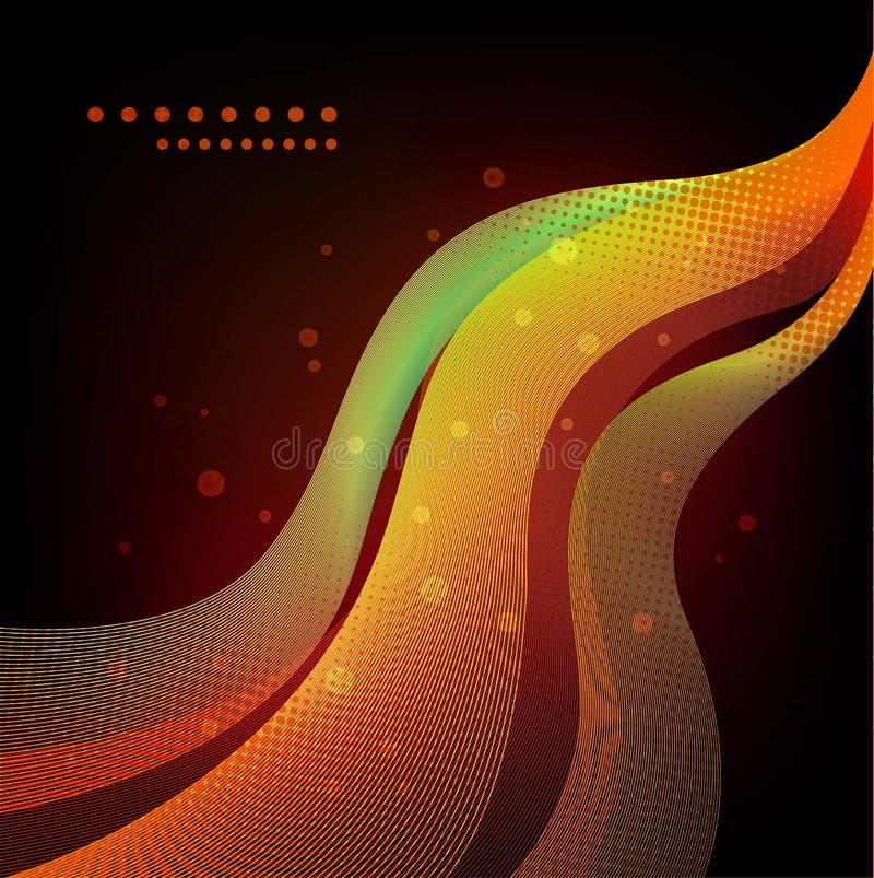 Kleurrijke abstracte golven op zwarte achtergrond stock illustratie