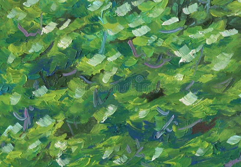 Kleurrijke abstracte olieverfschilderijtextuur van boomgebladerte stock illustratie