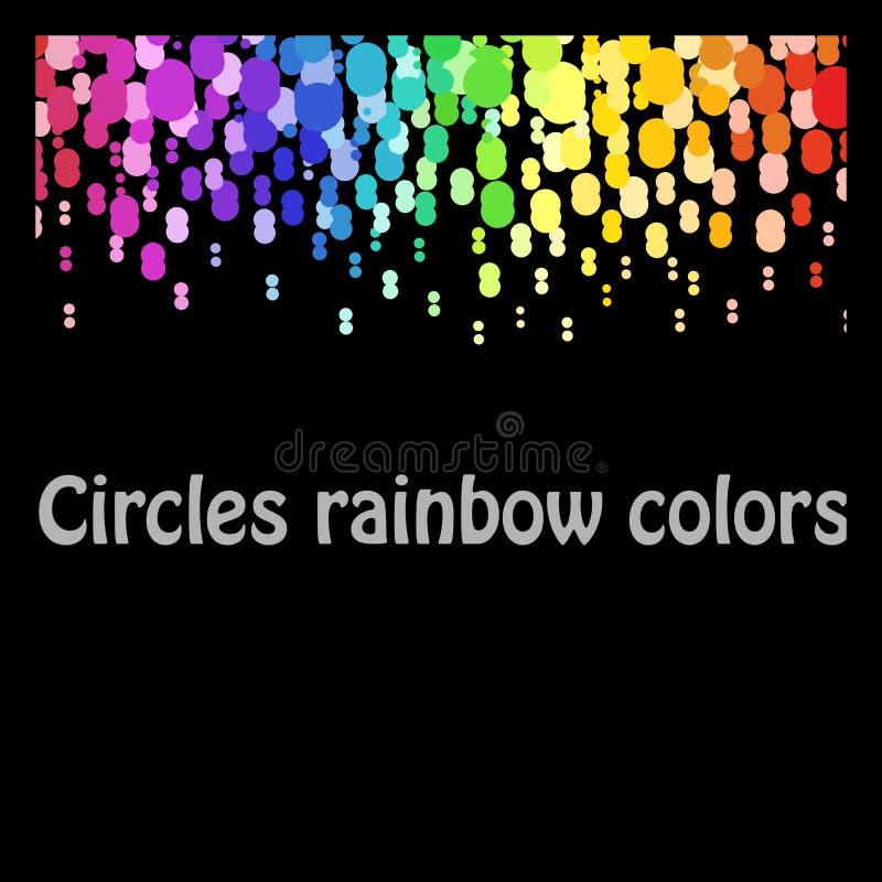 Kleurrijke abstracte patroon kleurrijke punten die, de cirkels met plaats voor uw tekst op zwarte achtergrond zich neer bewegen royalty-vrije illustratie