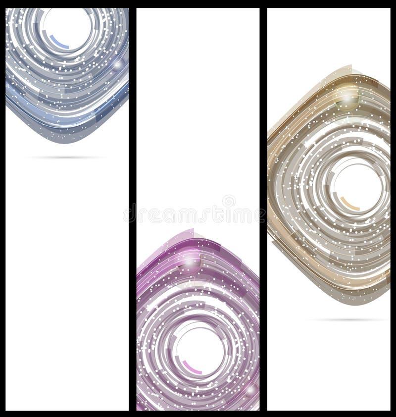 Kleurrijke abstracte technologiebanners als achtergrond stock illustratie