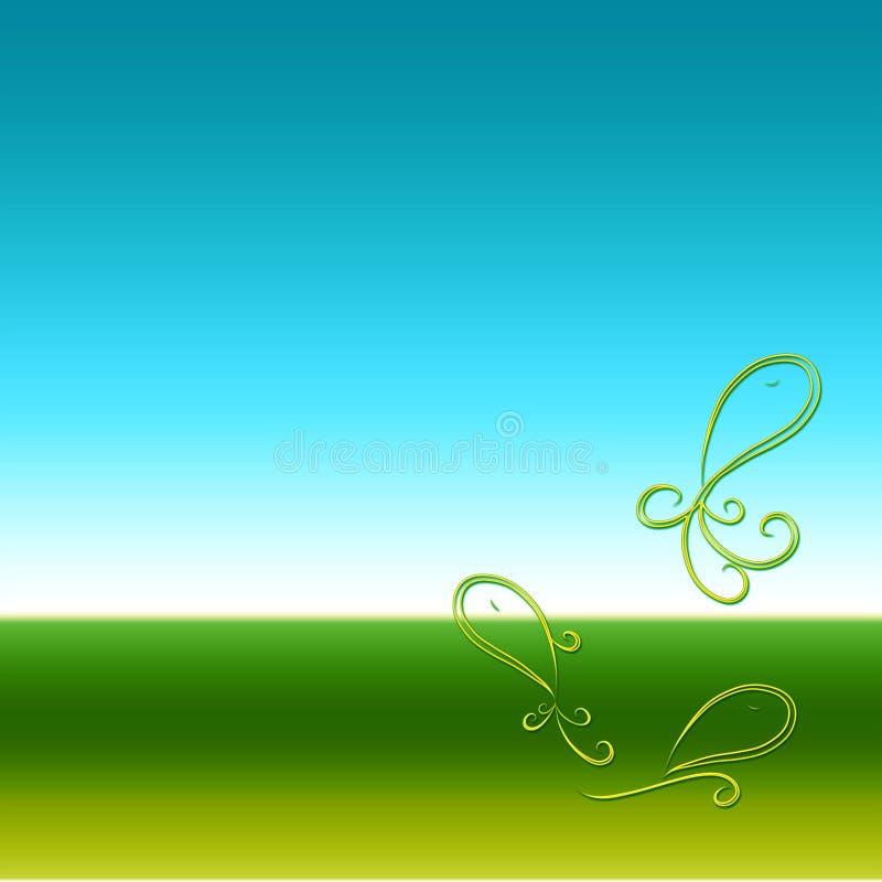 Kleurrijke achtergrond met drie vissen, blauw en groen vector illustratie