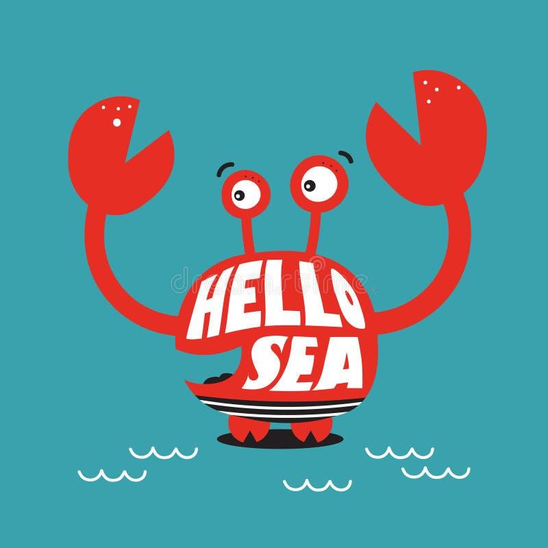 Kleurrijke achtergrond met gelukkige krab en Engelse teksten Hello-overzees vector illustratie
