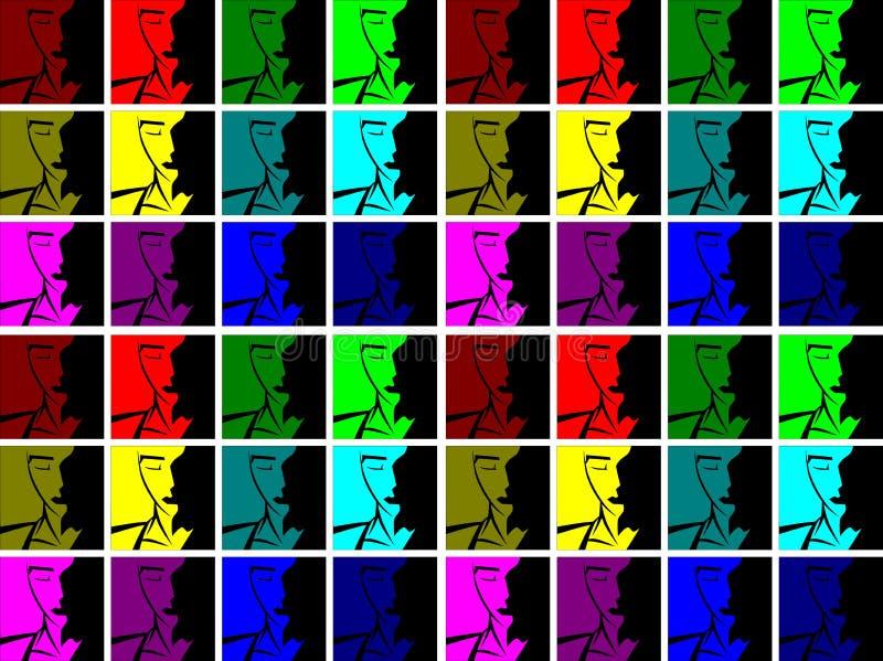 Kleurrijke achtergrond met gestileerd gezicht stock illustratie