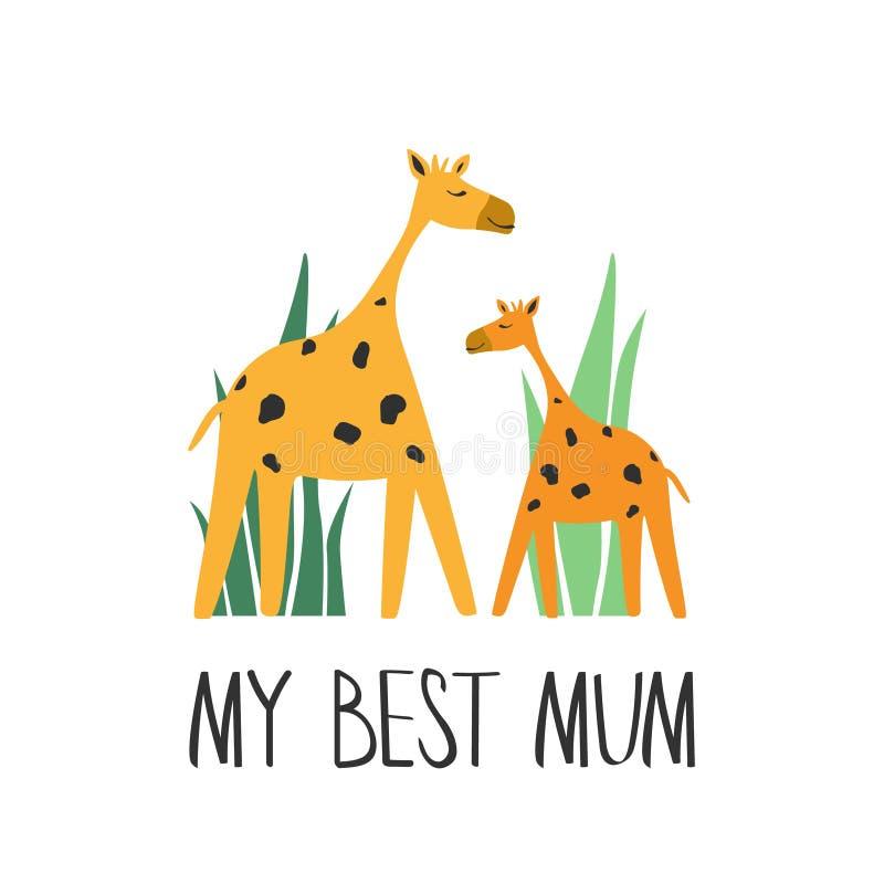 Kleurrijke achtergrond met leuke giraffen en Engelse teksten Decoratieve illustratie met gelukkige dieren Mijn beste mum De dag v stock illustratie