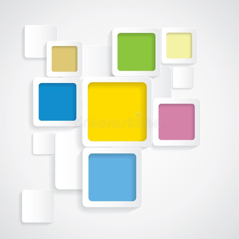 Kleurrijke achtergrond rond gemaakte vierkanten met grenzen - vector illustratie