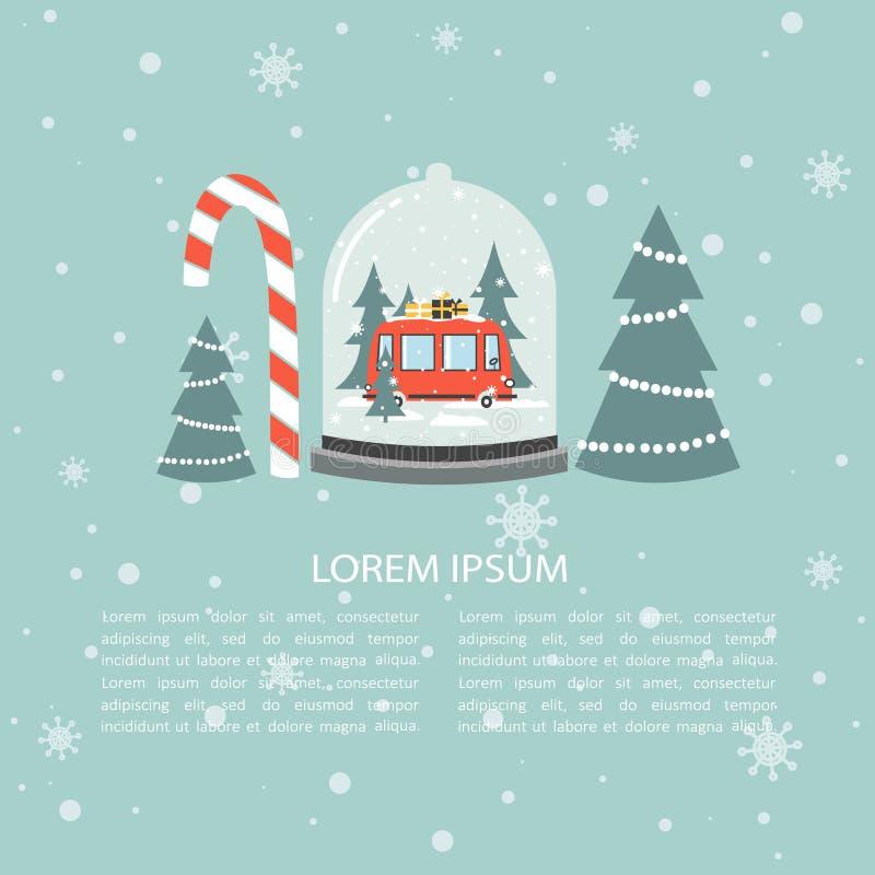 Kleurrijke achtergrond, sneeuwbol en plaats voor tekst Rode bus, giften, sparren, suikergoedriet Gelukkig Nieuwjaar, festal groet stock illustratie