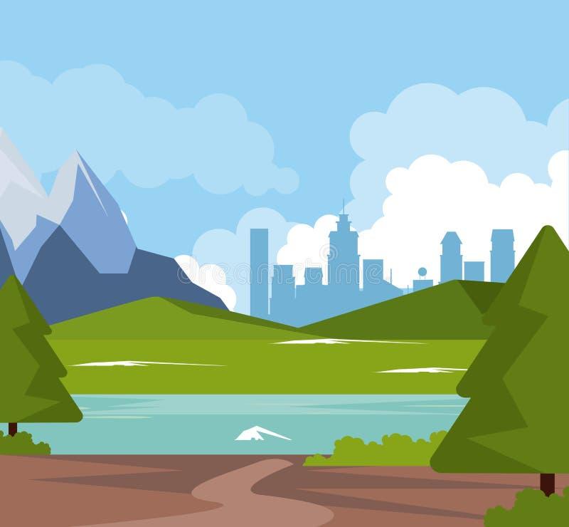 Kleurrijke achtergrond van natuurlijk landschap met valleibergen met rivier en stadsachtergrond stock illustratie