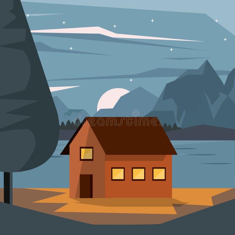 Kleurrijke achtergrond van nightly landschap met buitenhuis en bergen en meer stock illustratie