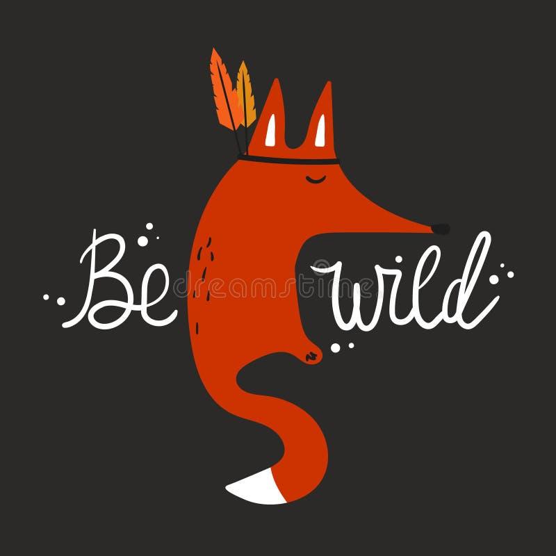 Kleurrijke achtergrond, vos met veren, Engelse tekst Wild ben royalty-vrije illustratie