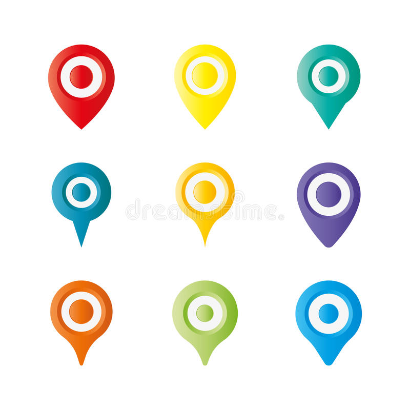 Kleurrijke afbeeldingsspeld, dalingsspeld, speld, plaatsspeld op witte achtergrond Vector illustratie stock afbeelding