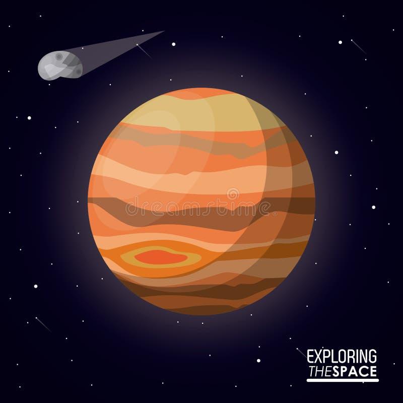 Kleurrijke affiche die de ruimte met planeet Jupiter en asteroïde onderzoeken royalty-vrije illustratie
