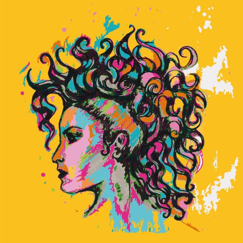 Kleurrijke affiche hairstyle Meisje met krullen vector illustratie