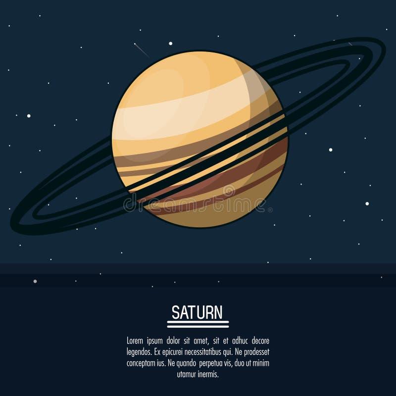 Kleurrijke affiche met planeet Saturnus royalty-vrije illustratie