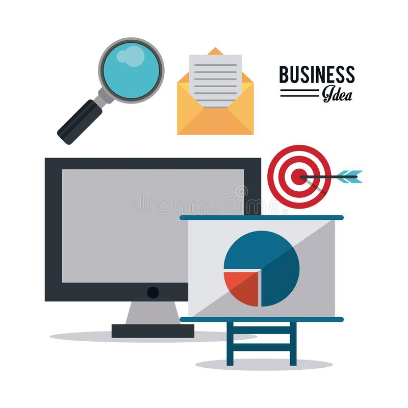 Kleurrijke affiche van bedrijfsidee met bureaucomputer op zoek naar bedrijfsdoel stock illustratie