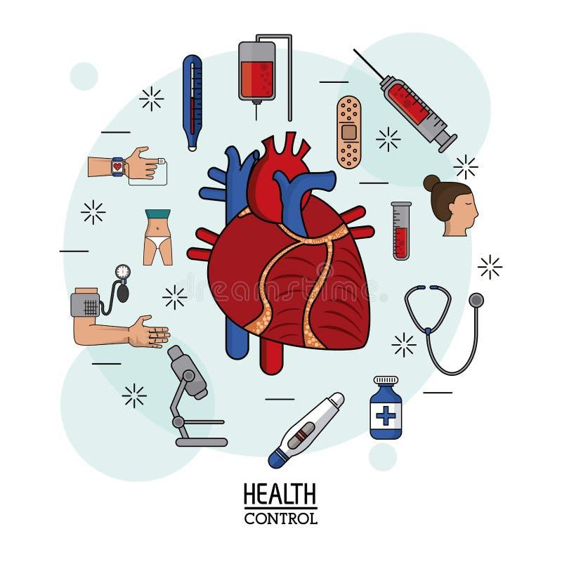 Kleurrijke Affiche van gezondheidscontrole op witte achtergrond met menselijk hart rond systeem in close-up en pictogrammen royalty-vrije illustratie