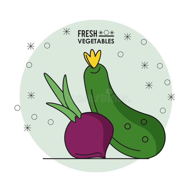 Kleurrijke affiche van verse groenten met biet en komkommer stock illustratie