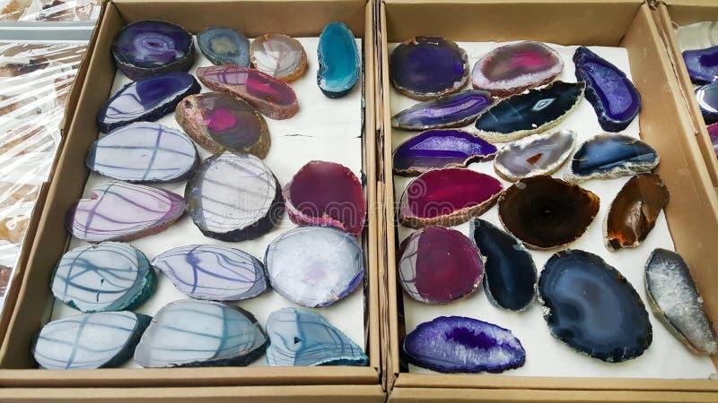 Kleurrijke agaatplaten stock afbeelding