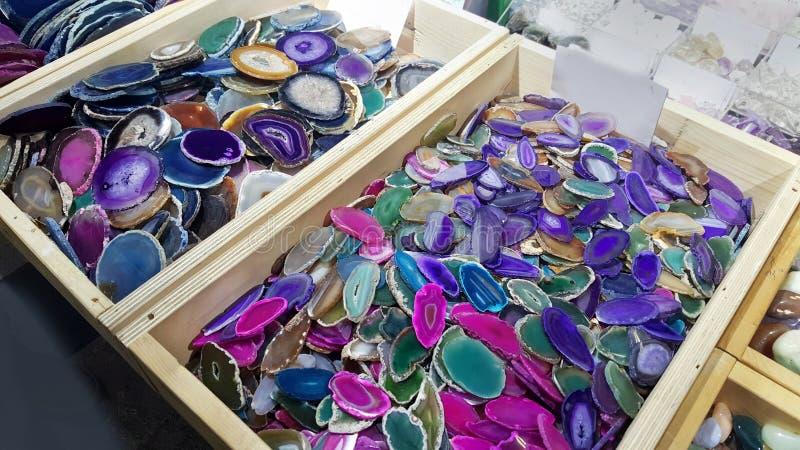 Kleurrijke agaatplaten royalty-vrije stock afbeeldingen