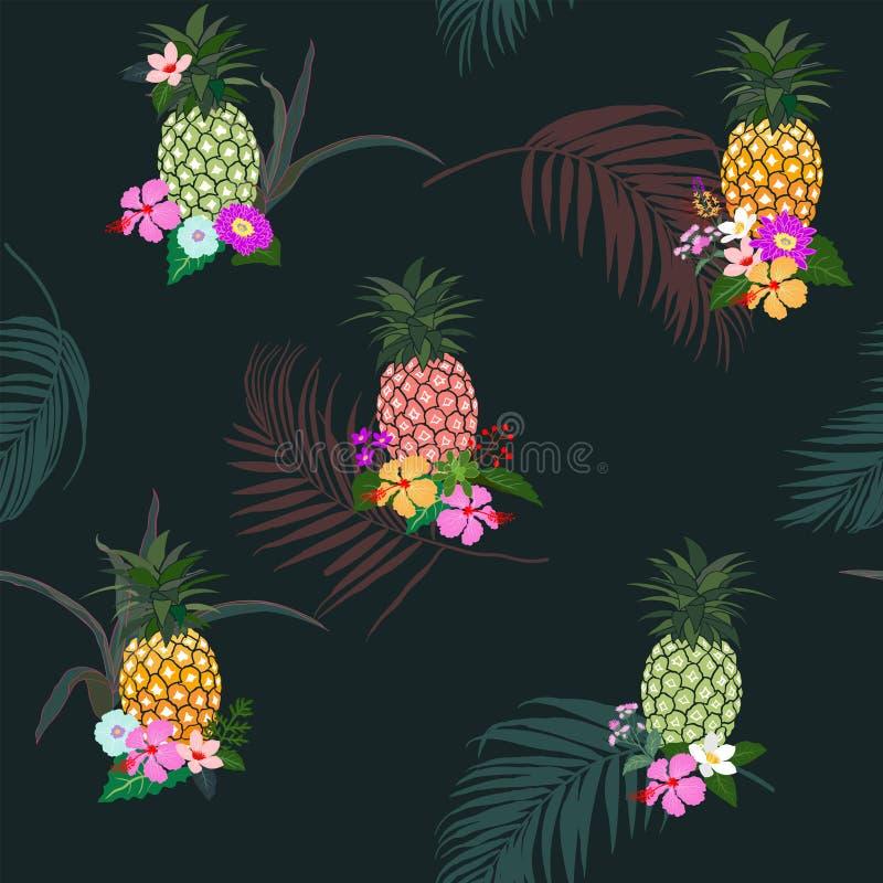 Kleurrijke ananas met tropisch bloemen en bladeren naadloos patroon op de donkere achtergrond van de de zomernacht stock illustratie