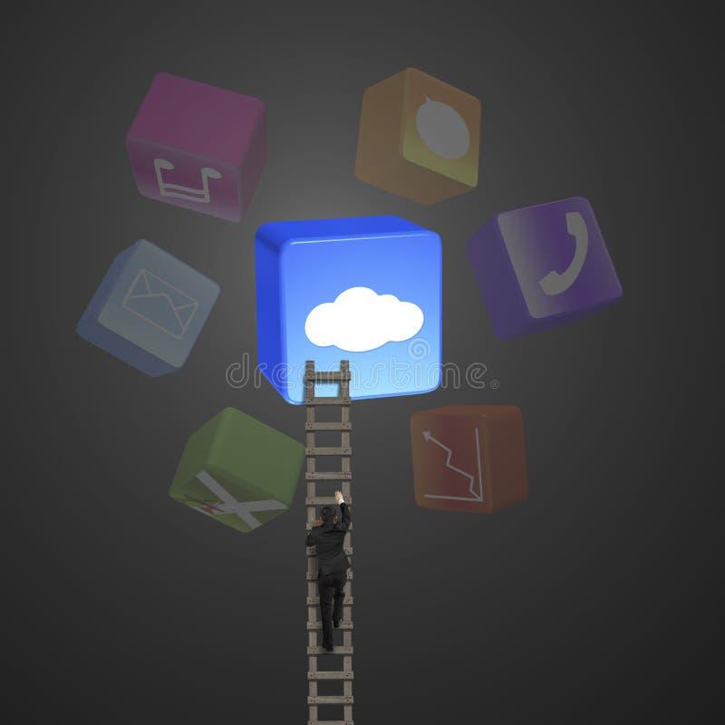 Kleurrijke app blokken met zakenman die houten ladder beklimmen stock afbeeldingen