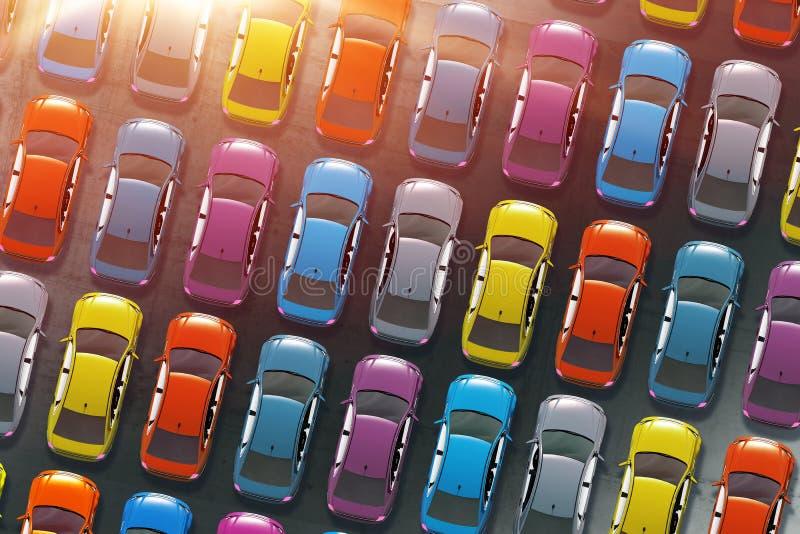 Kleurrijke Auto'sinventaris vector illustratie