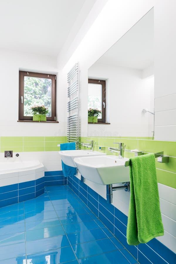 Kleurrijke Badkamers Die Energie Toevoegen Aan Elke Ochtend Stock ...
