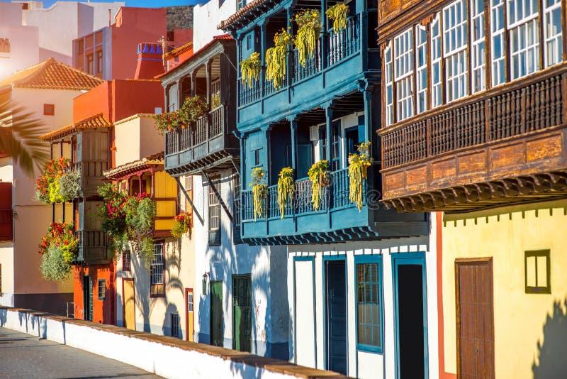 Kleurrijke balkons in Santa Cruz-stad op het eiland van La Palma royalty-vrije stock afbeeldingen