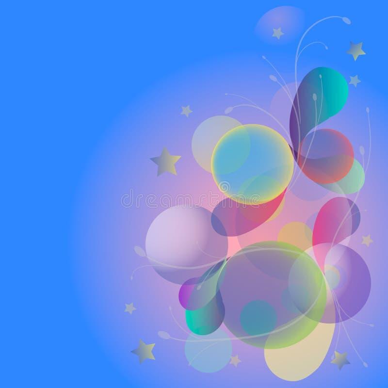 Kleurrijke ballen, bellen, sterren abstracte achtergrond vector illustratie
