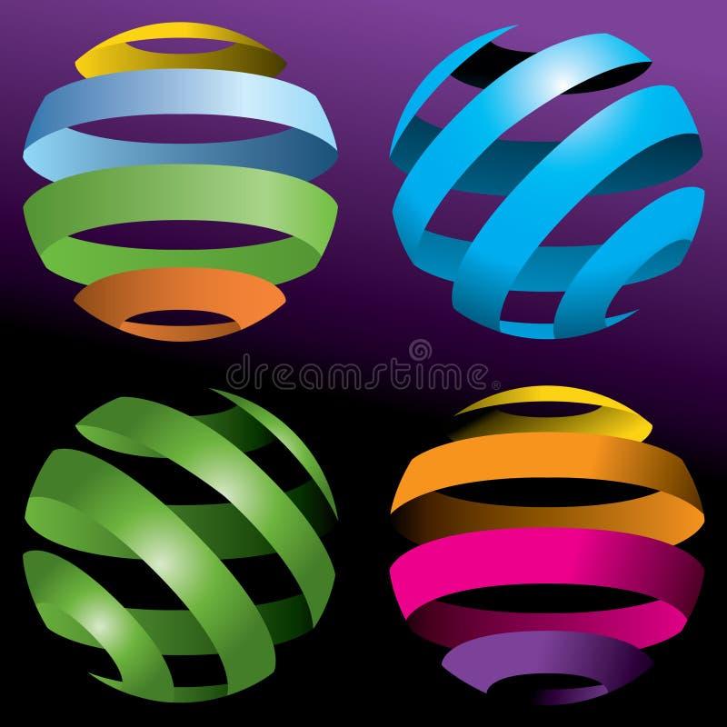 Kleurrijke ballen #D stock illustratie