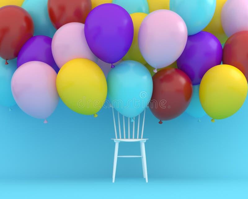 Kleurrijke ballons die met witte stoel op blauwe kleur drijven backgr stock afbeelding