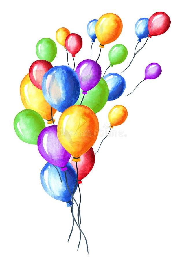 Kleurrijke Ballons Waterverfhand getrokken die illustratie, op witte achtergrond wordt geïsoleerd stock afbeelding