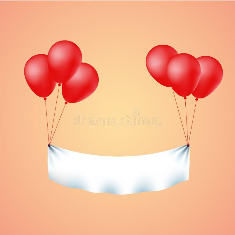 Kleurrijke banner die met rode ballons vliegen vector illustratie