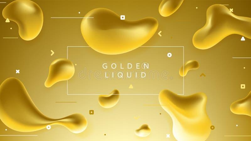 Kleurrijke banner met abstracte gouden vloeibare vormen stock illustratie