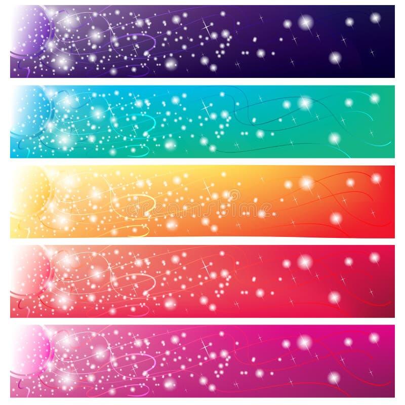 5 kleurrijke banners met glanzende zon stock illustratie