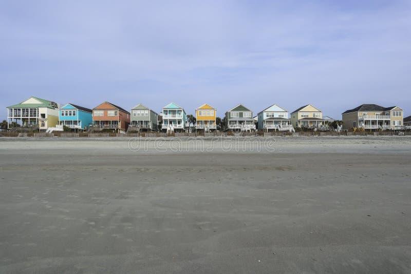 Kleurrijke Beachfront-Huizen in Myrtle Beach royalty-vrije stock foto's