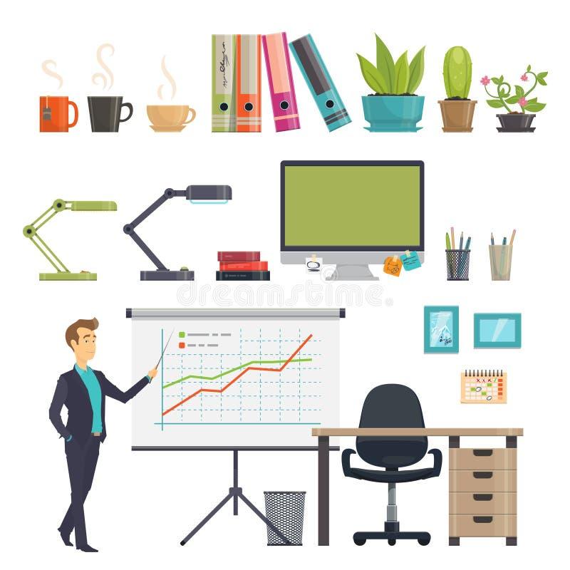 Kleurrijke Bedrijfs Geplaatste Werkplaatspictogrammen stock illustratie