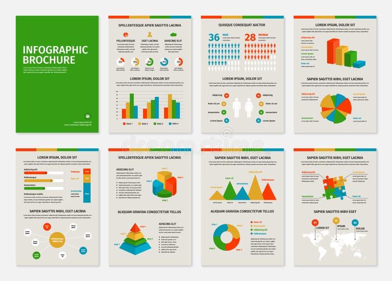 Kleurrijke bedrijfsa4 brochures met infographic stock illustratie