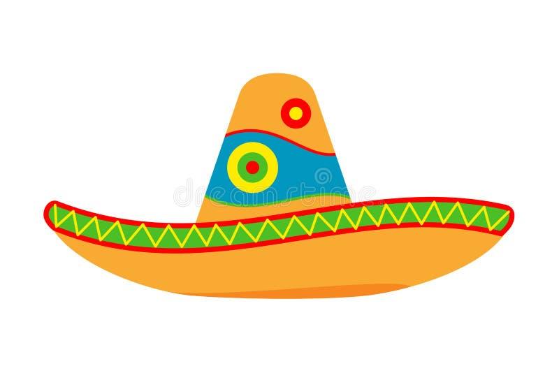 Kleurrijke beeldverhaal Mexicaanse hoed stock illustratie