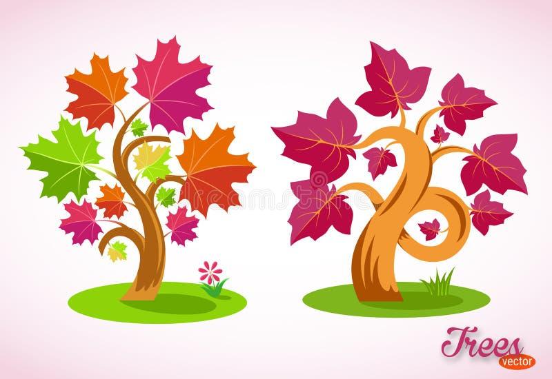 Kleurrijke Beeldverhaalbomen Gebogen takken, succulente bladeren, groen gazon, gras, bloem Ge?soleerd beeld op witte achtergrond royalty-vrije illustratie