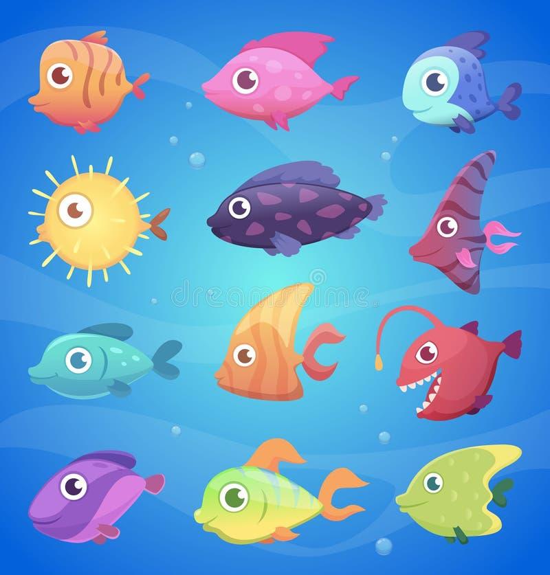 Kleurrijke beeldverhaalvissen Grappige onderwaterdieren met grote overzeese het levens vectorillustraties van de ogenoceaan en vector illustratie