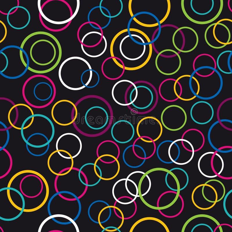 Kleurrijke bellen naadloze die achtergrond op zwarte kleur wordt geïsoleerd vector illustratie