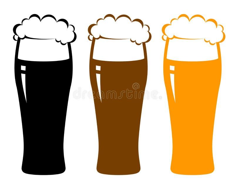 Kleurrijke bierglazen met schuim stock illustratie