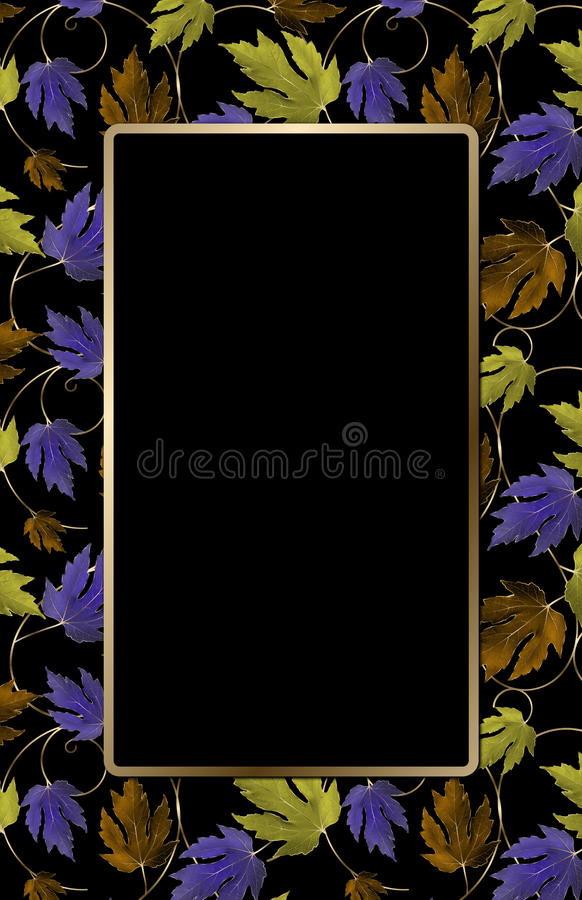 Kleurrijke bladeren op zwarte royalty-vrije illustratie